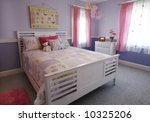 beautifully decorated girl's bedroom - stock photo