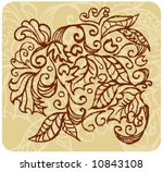 Vector hand painted foliage design with dry-brush effect.  Rescale & recolor to your liking. - stock vector