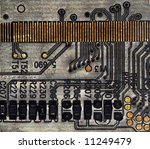 Circuit board background, microscope picture - stock photo