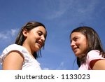 Both teenager in the sky - stock photo