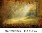 Morning sunrays falling on a forest glade on grunge background - stock photo