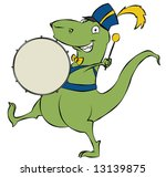 A marching cartoon dinosaur banging on his drum. Space on the drum for a logo or text. - stock photo