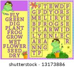 Word search, children's colorful springtime word search puzzle with gardening frogs and flowers.Vector. - stock vector