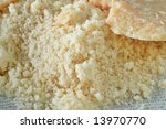 Close-up of grated Parmesan cheese - stock photo