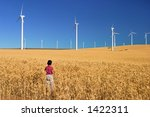 Focus on wind power - stock photo