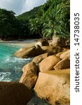 Seychelles seascape. Anse Lazio - stock photo