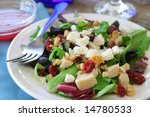 Chicken salad with pecans and cranberries along with Feta cheese. - stock photo