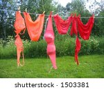 Bikinis hanging on clothesline - stock photo