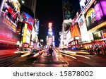 New York Times Square traffic at night - summer 2008 - stock photo