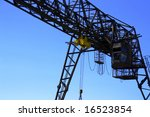 gantry over blue sky - stock photo