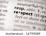 "Selective focus on the word ""respect"". - stock photo"