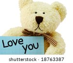 "Front view of teddy bear toy with ""Love you"" note, isolated on white background - stock photo"