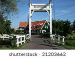 The entrance to the touristic historical village Marken near by Amsterdam - stock photo
