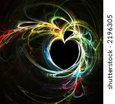 Fractal rainbow heart - stock photo