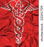 Illustration of the symbol of caduceus, on a red background. - stock photo