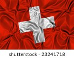 Waving flag of Switzerland - stock photo
