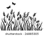Silhouette of cereal crop with butterflies. - stock vector
