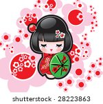 Vector illustration of the Japanese doll - stock vector