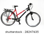 Red bicycle on a white background - stock photo