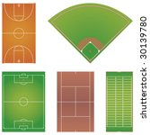 Five popular sport field layouts isolated on white background - stock vector