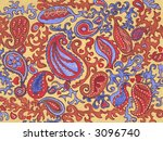 Hand-painted paisley pattern in a naive style. Original artwork. - stock photo