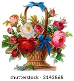 A basket of roses - circa 1890 Mother's Day greeting card illustration - stock photo