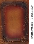 brown and red leathercraft tooled vintage book cover with texture and border - stock photo