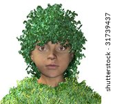 child with hair of leaves - stock photo