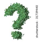 question mark made of leaves - stock photo