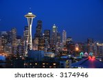 Seattle sky line viewed from Kerry Park - stock photo