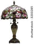 Tiffany Glass Table Lamp with Bumble Bee Accents - stock photo