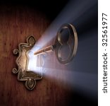A close-up of a key moving towards the key hole. - stock photo