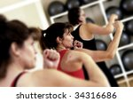 Aerobic class - stock photo