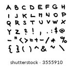 Hand draw alphabet font - letters, numbers (vector, illustration) - stock vector