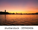 Sunset of Victoria Harbor, Hong Kong - stock photo