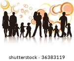 Illustration of family and abstract - stock vector