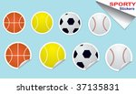 Set of Sports Ball Stickers - stock vector