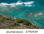 Diamond Head Lighthouse in Honolulu, Hawaii - stock photo
