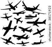 assorted plane silhouettes arriving and departing illustration - stock vector