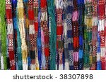 Colorful cheap glass necklaces from the marketplace - stock photo