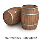 Two wine barrels isolated on white - stock photo