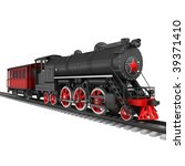 Steam locomotive with red car isolated on white - stock photo
