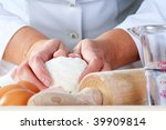 making dough for delicious baked good, narrow focus. - stock photo