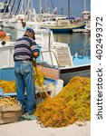 Mediterranean fishermen's harbor - stock photo