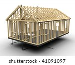 House frame under construction - isolated  3d illustration - stock photo