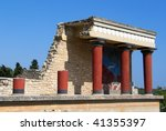 Minoan palace Knossos on Crete - stock photo