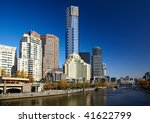 Center of Melbourne and Yarra river - stock photo