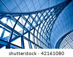 Abstract blue wall interior background, horizontal left composition - stock photo