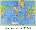 Vintage map of the world. Mercator projection - stock photo