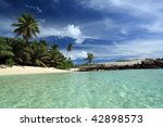 Seychelles seascape. Palms and ocean. Mahe island - stock photo